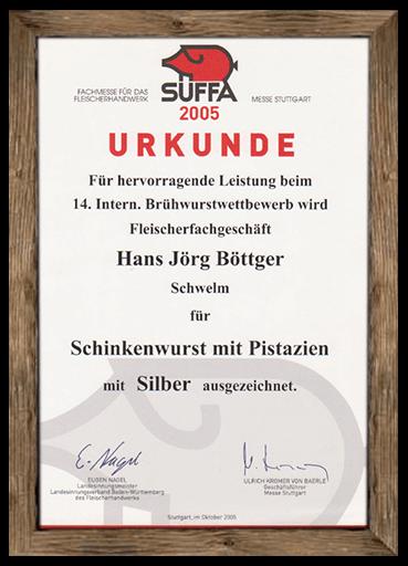 urkunde-suffa-2005-schinkenwurst-mit-pistazien